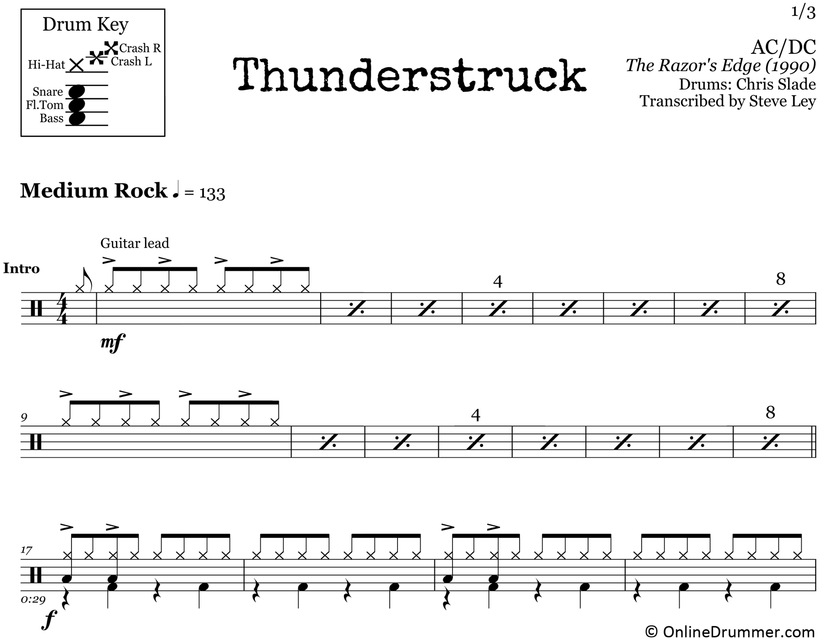 Thunderstruck - ACDC - Drum Sheet Music