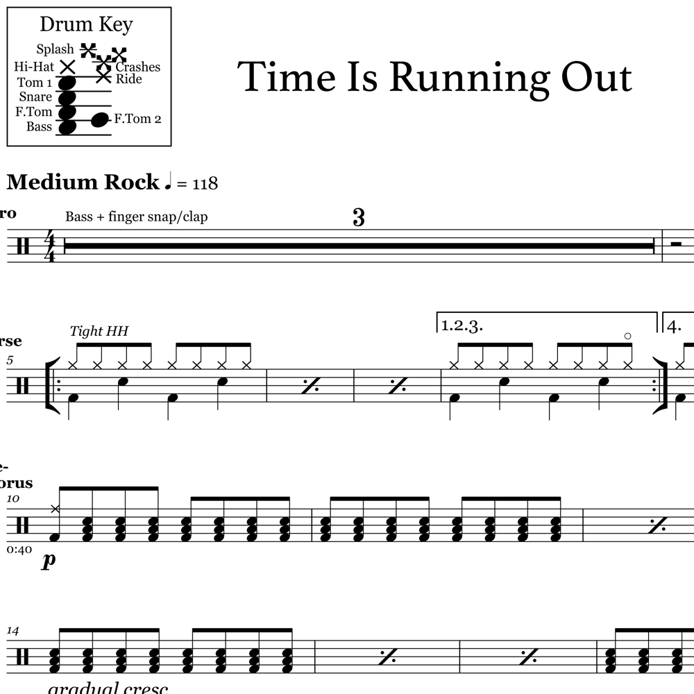 Time Is Running Out - Pre-chorus Groove