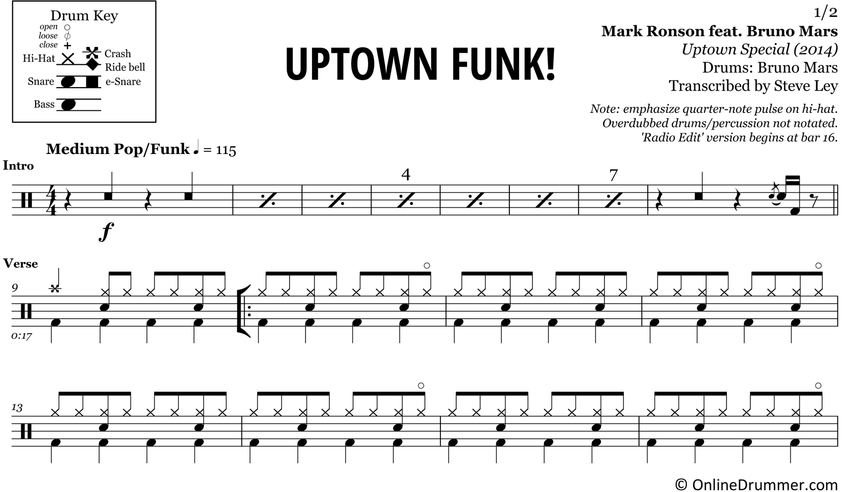 Uptown Funk - Bruno Mars & Mark Ronson - Drum Sheet Music