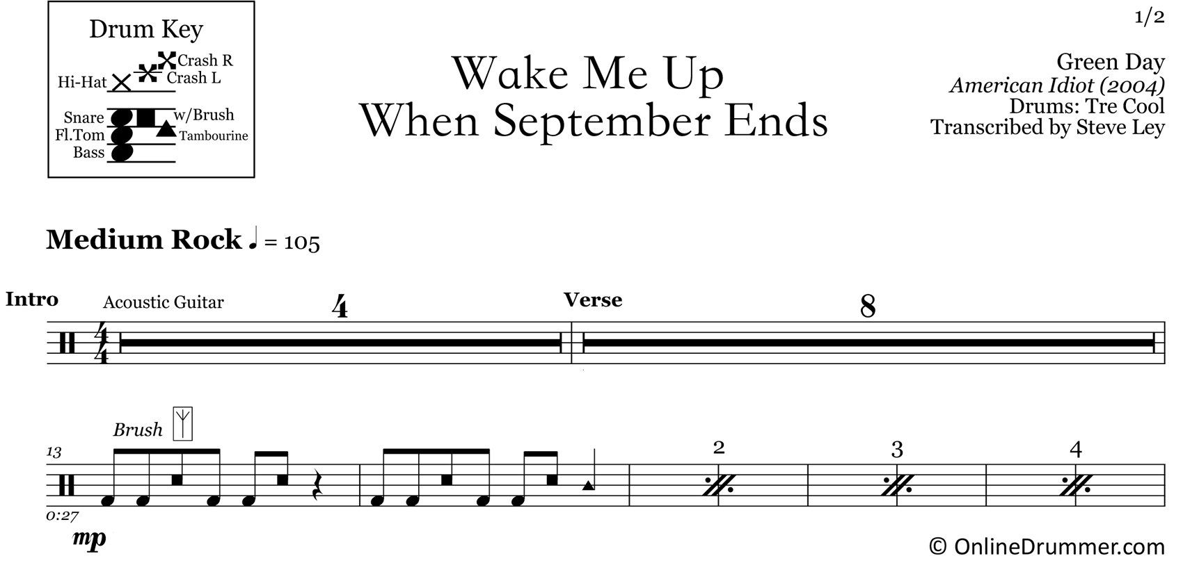 Wake Me Up When September Ends - Green Day - Drum Sheet Music