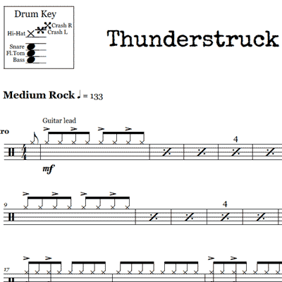 You Shook Me All Night Long – ACDC – Drum Sheet Music ...