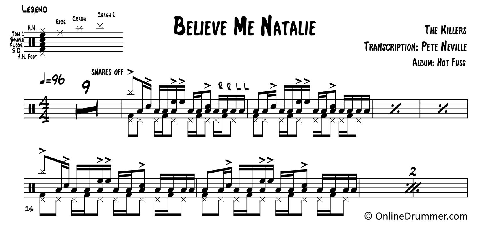 Believe Me Natalie - The Killers - Drum Sheet Music