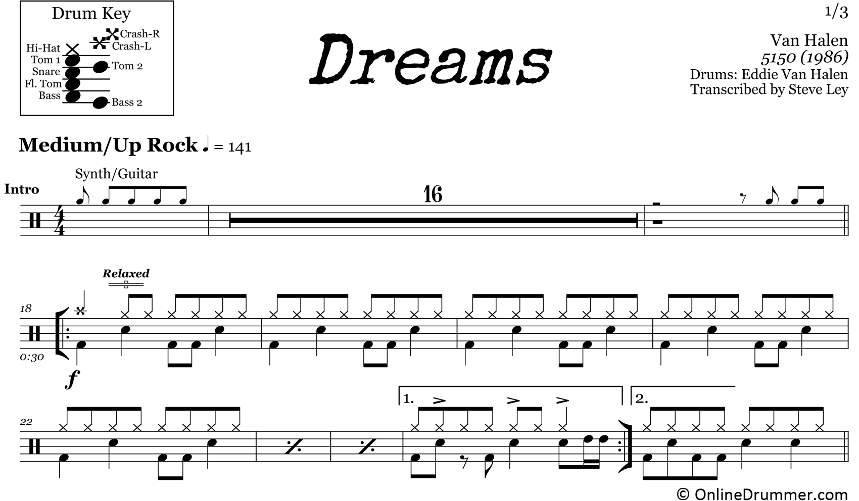 Dreams - Van Halen - Drum Sheet Music