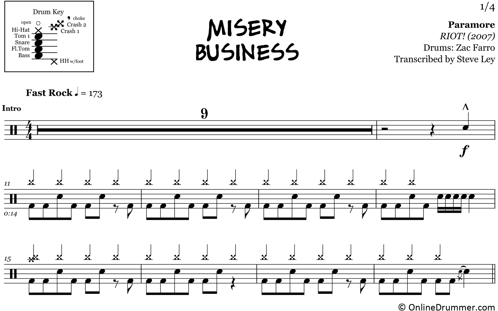 Misery Business - Paramore - Drum Sheet Music