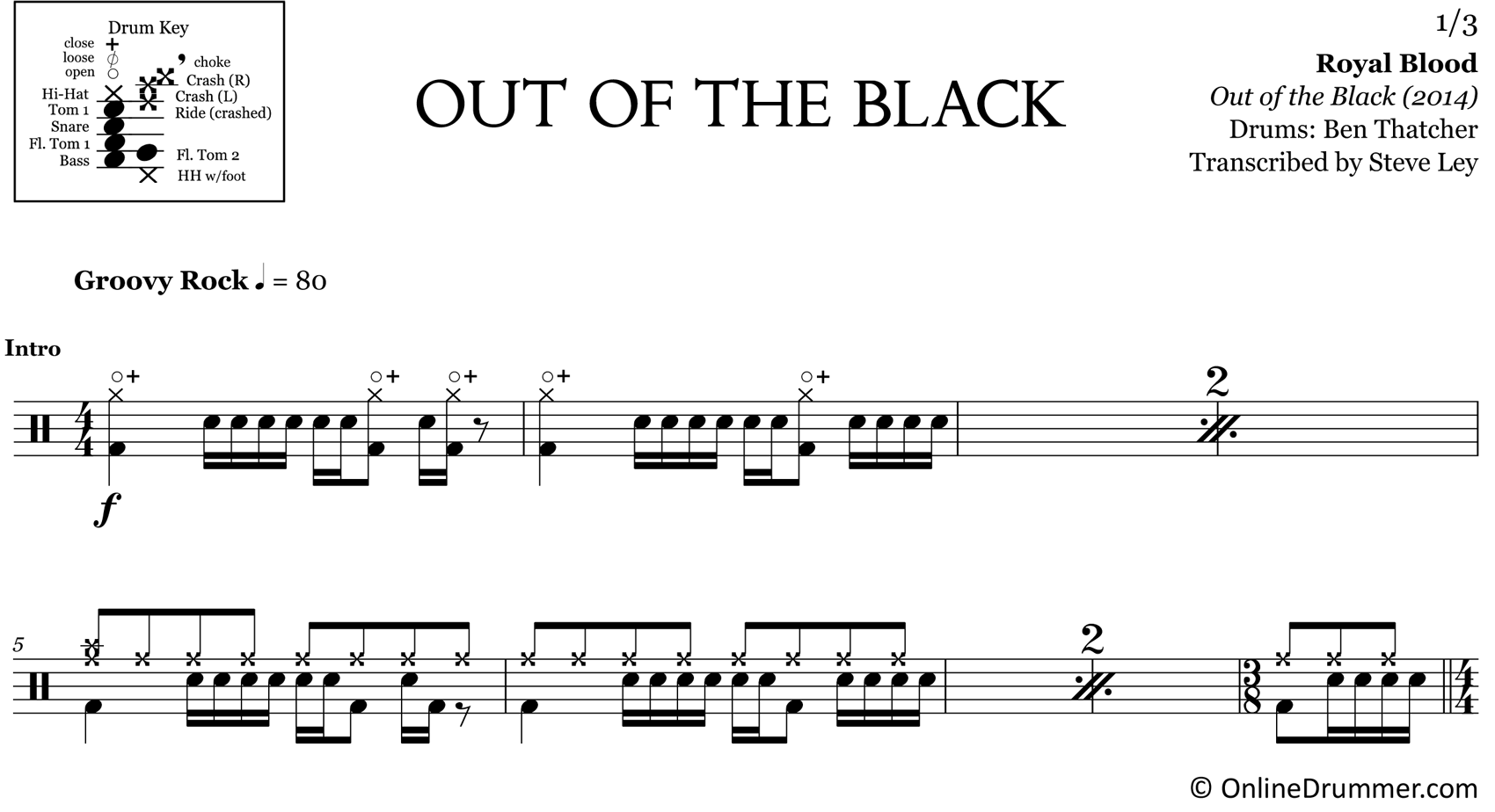 Out of the Black - Royal Blood - Drum Sheet Music