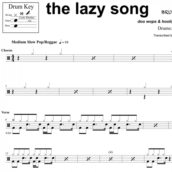 The Lazy Song - Bruno Mars - Drum Sheet Music