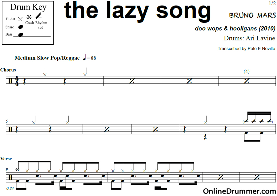 The Lazy Song Bruno Mars Drum Sheet Music Onlinedrummer