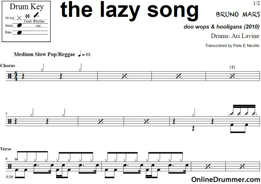 Song sheet music popular songs : The Lazy Song – Bruno Mars – Drum Sheet Music | OnlineDrummer.com