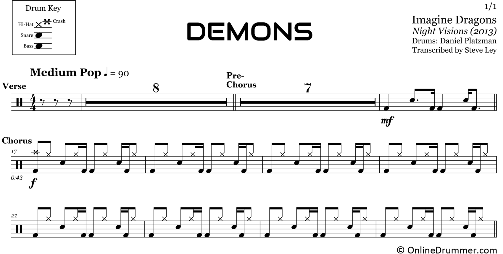 Demons - Imagine Dragons - Drum Sheet Music