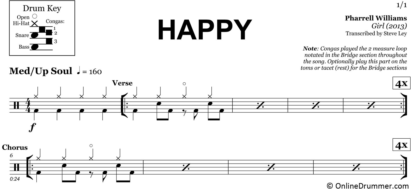 Happy - Pharrell Williams - Drum Sheet Music