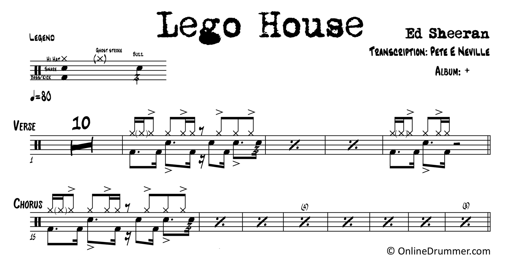 Lego House - Ed Sheeran - Drum Sheet Music