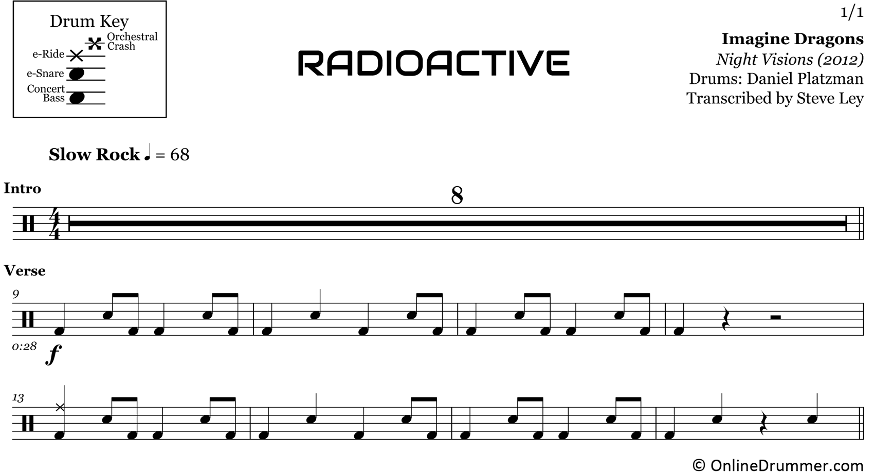 Radioactive - Imagine Dragons - Drum Sheet Music