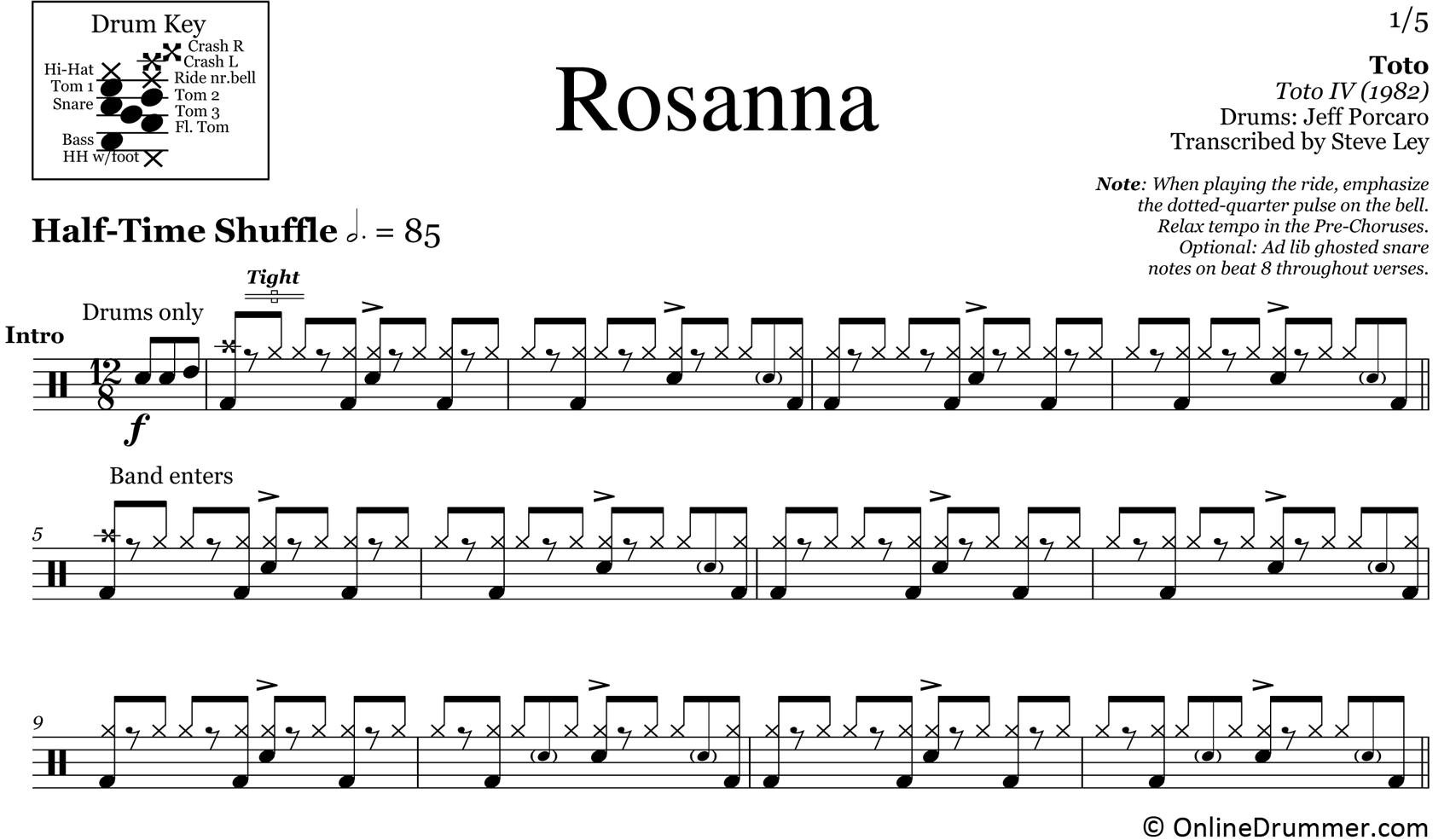Rosanna - Toto - Drum Sheet Music