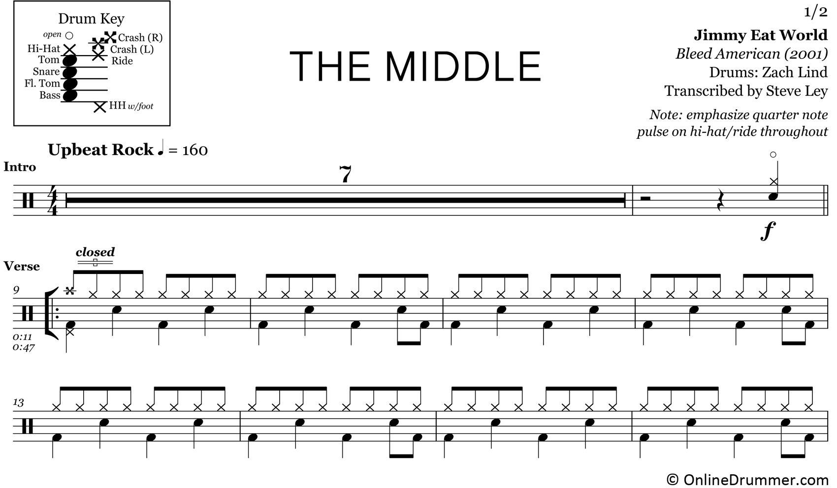 The Middle - Jimmy Eat World - Drum Sheet Music