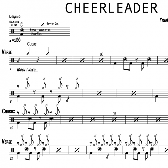 Cheerleader - OMI - Drum Sheet Music