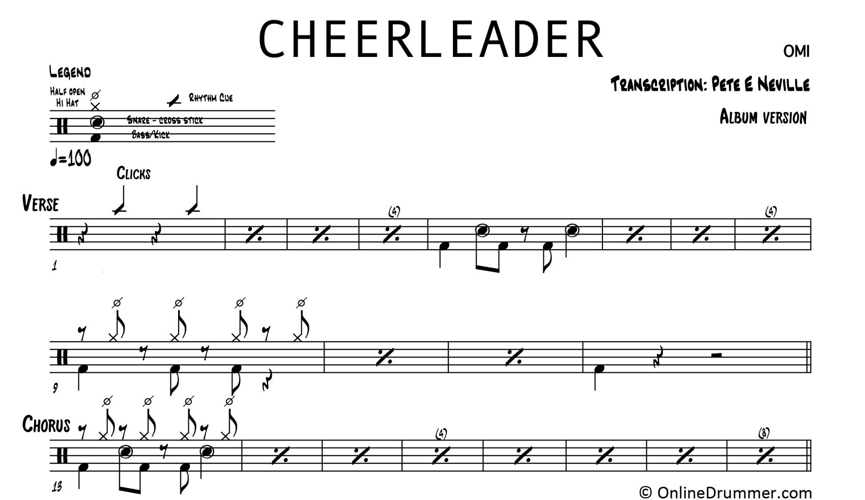 Cheerleader - OMI - Drum Sheet Music