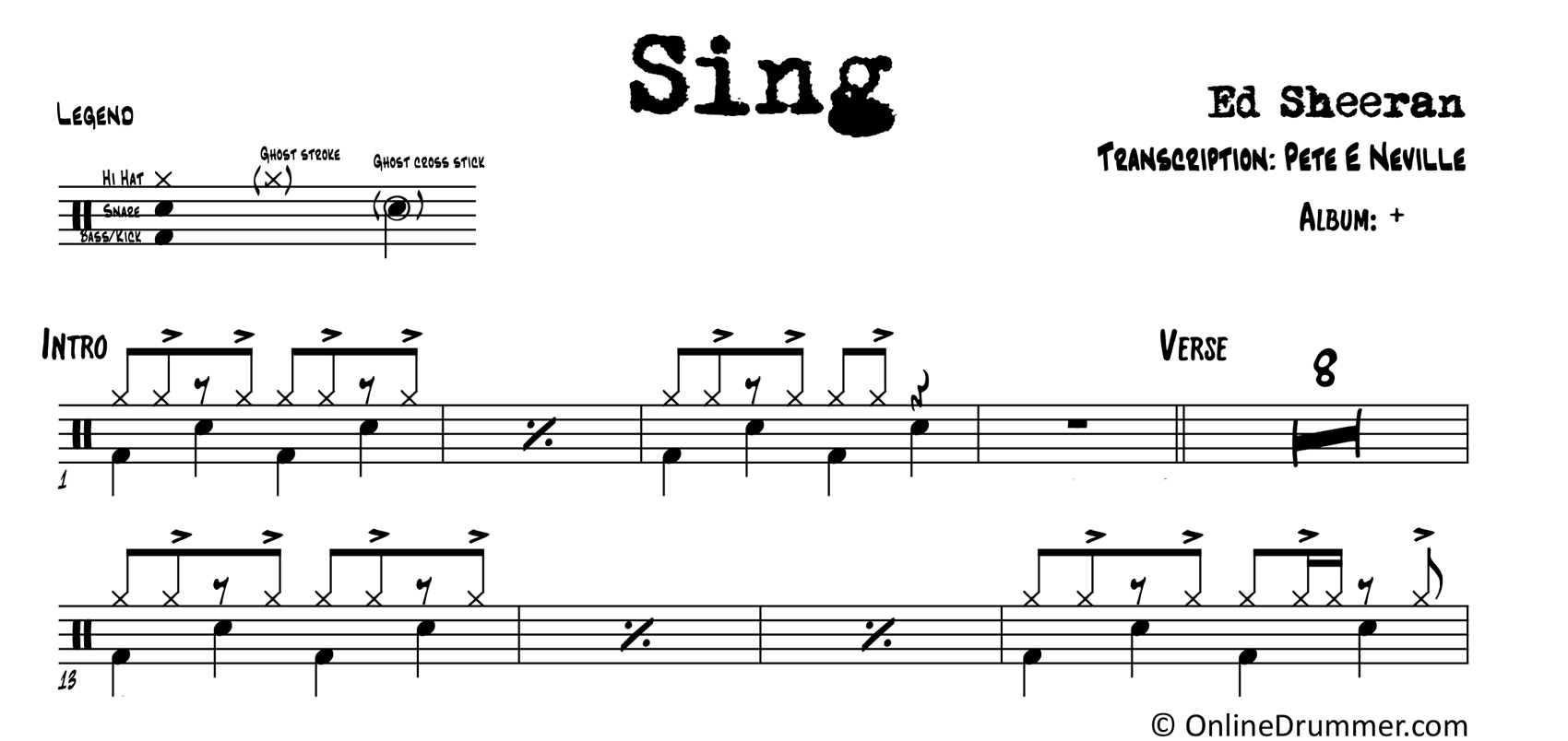 Sing - Ed Sheeran - Drum Sheet Music