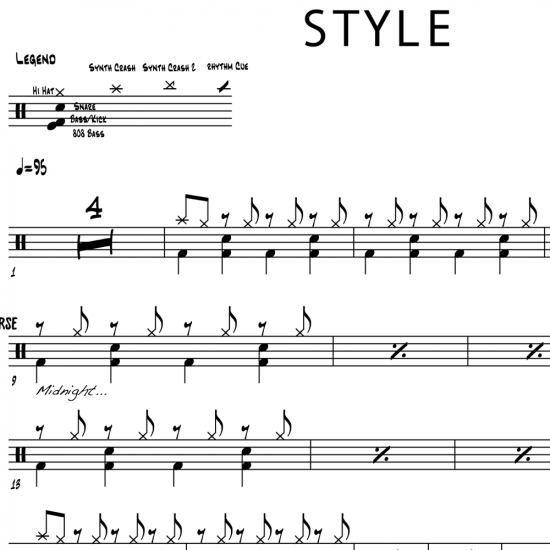 Style - Taylor Swift - Drum Sheet Music