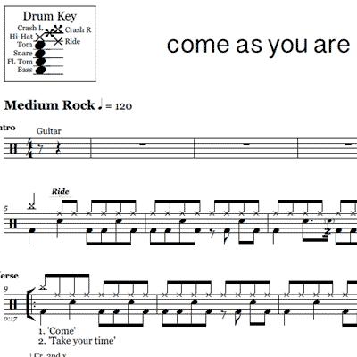 Smells Like Teen Spirit – Nirvana – Drum Sheet Music | OnlineDrummer.com