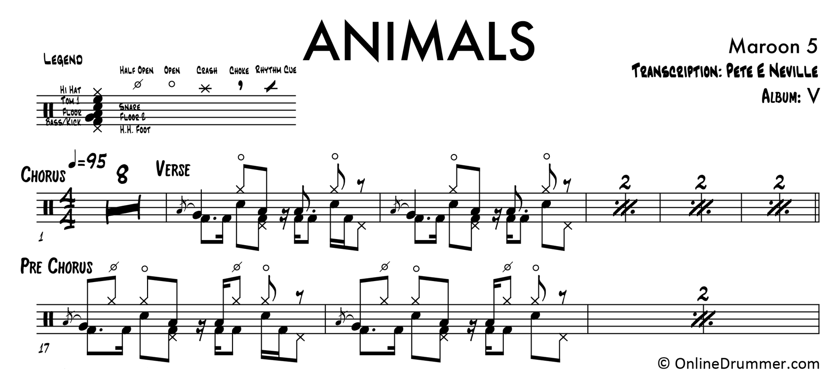 Animals - Maroon 5 - Drum Sheet Music