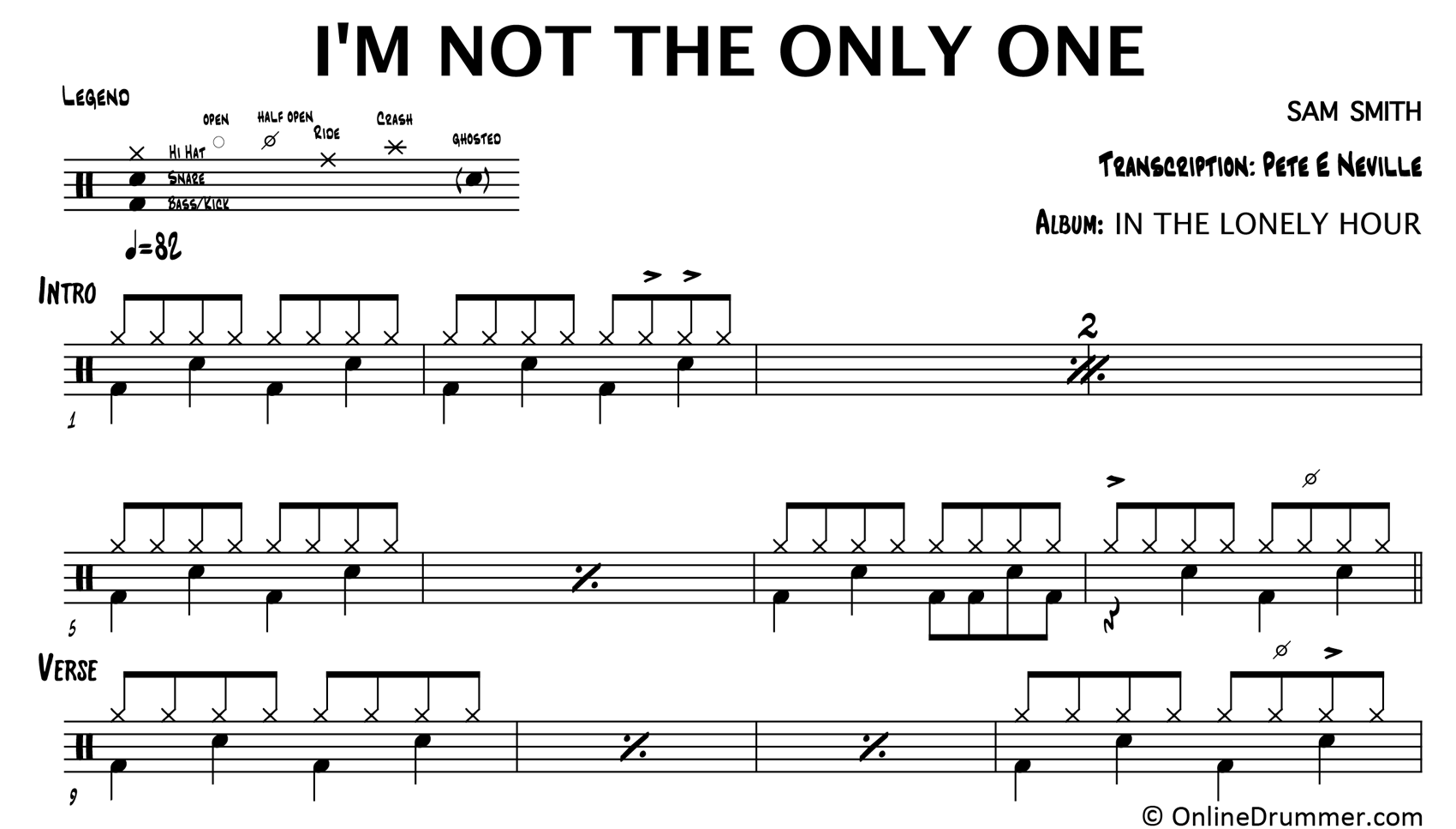 I'm Not The Only One - Sam Smith - Drum Sheet Music