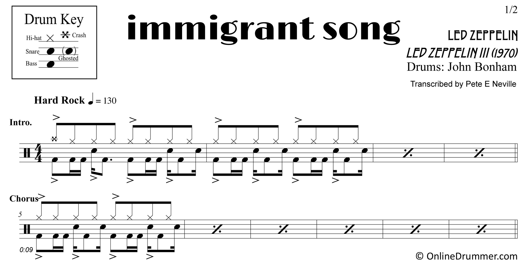 Immigrant Song - Led Zeppelin - Drum Sheet Music