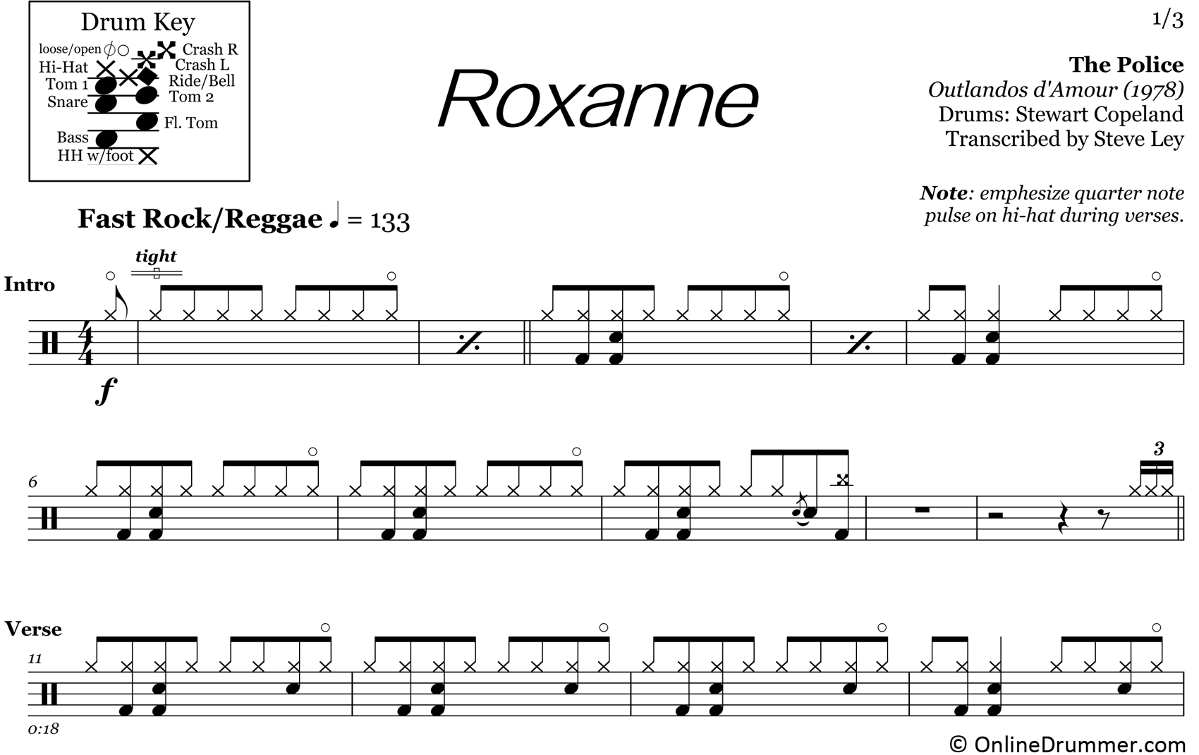 Roxanne - The Police - Drum Sheet Music