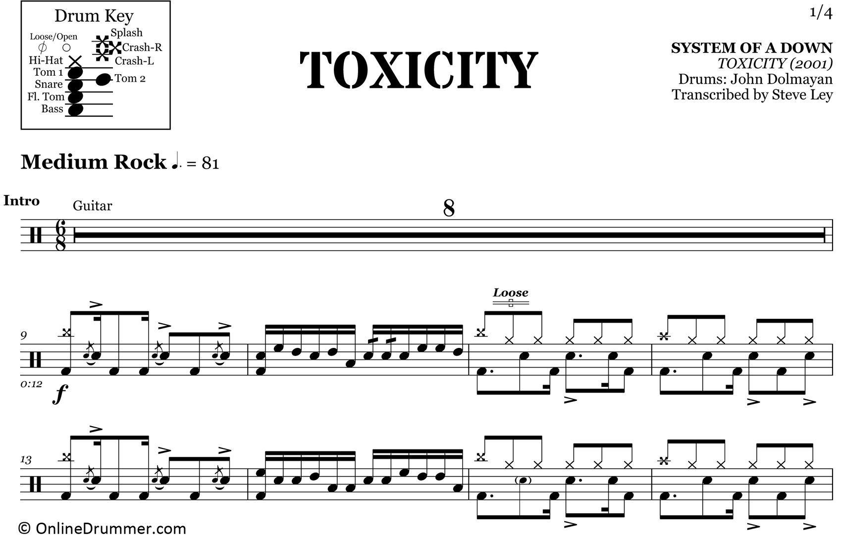 Toxicity - System of a Down - Drum Sheet Music