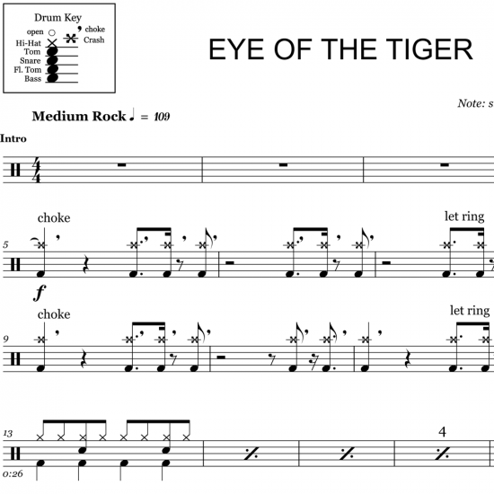 photo regarding Free Printable Drum Sheet Music titled Eye Of The Tiger - Survivor - Drum Sheet New music