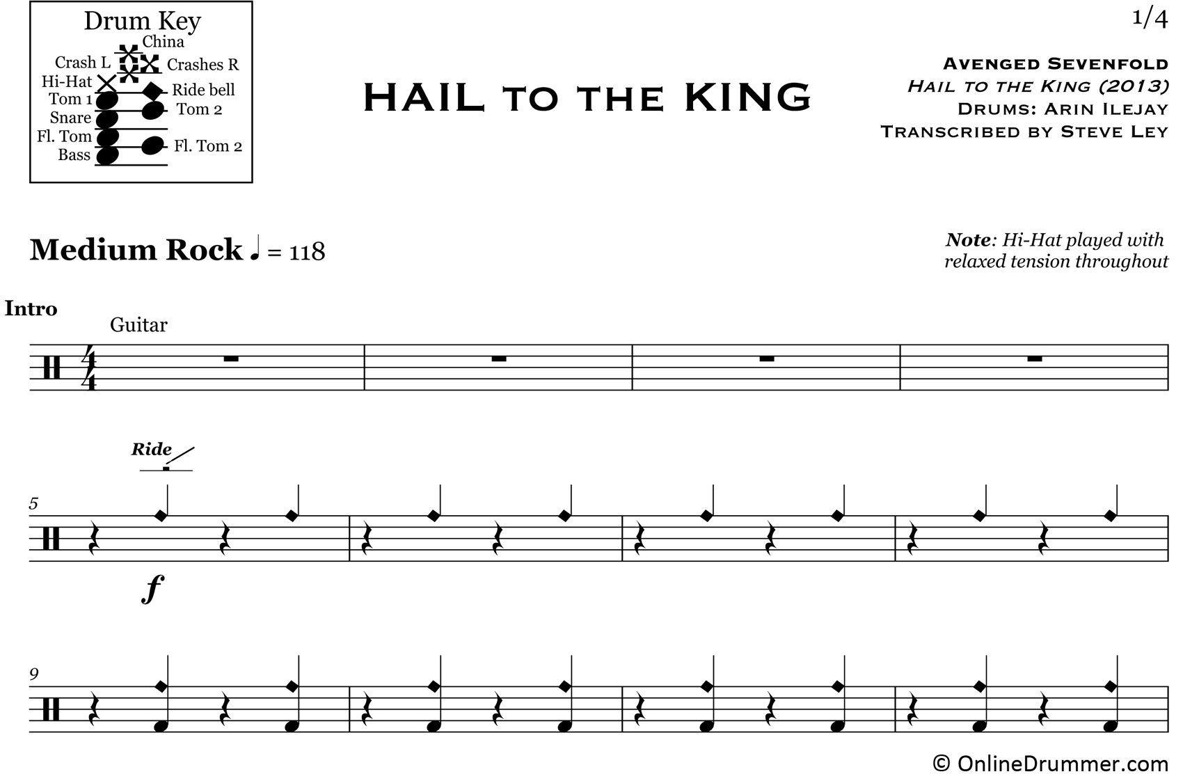Hail to the King - Avenged Sevenfold - Drum Sheet Music