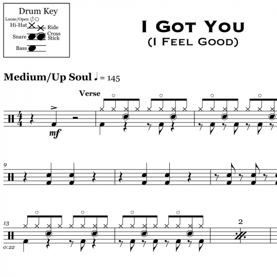 I Got You (I Feel Good) - James Brown - Drum Sheet Music