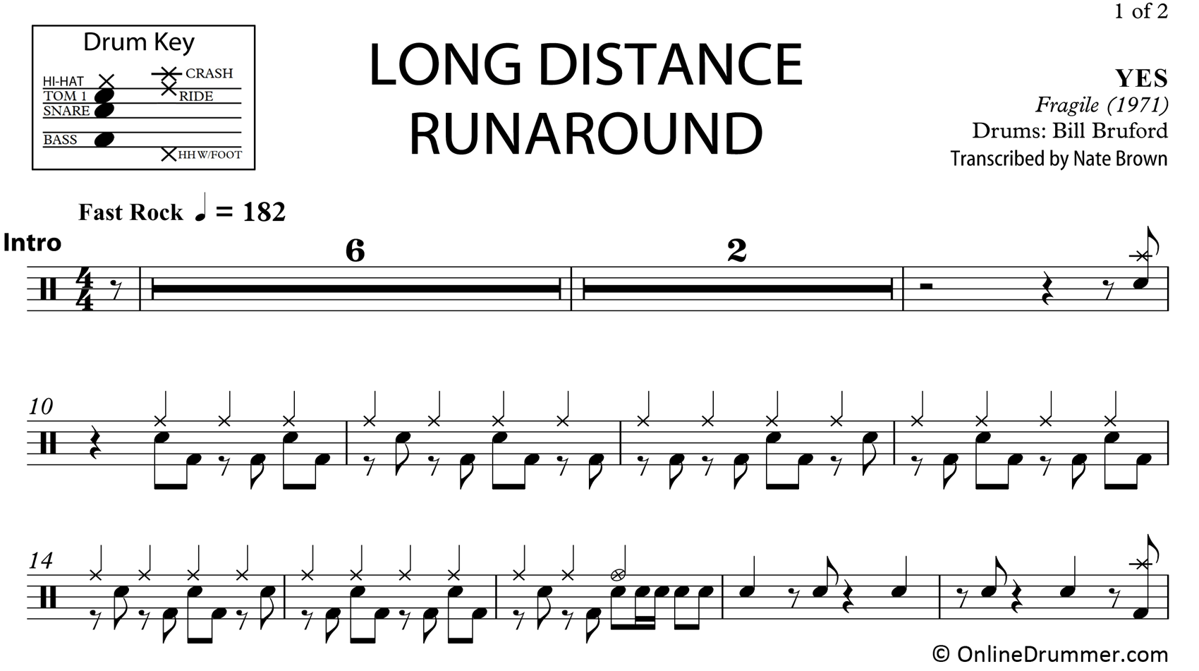 Long Distance Runaround - Yes - Drum Sheet Music