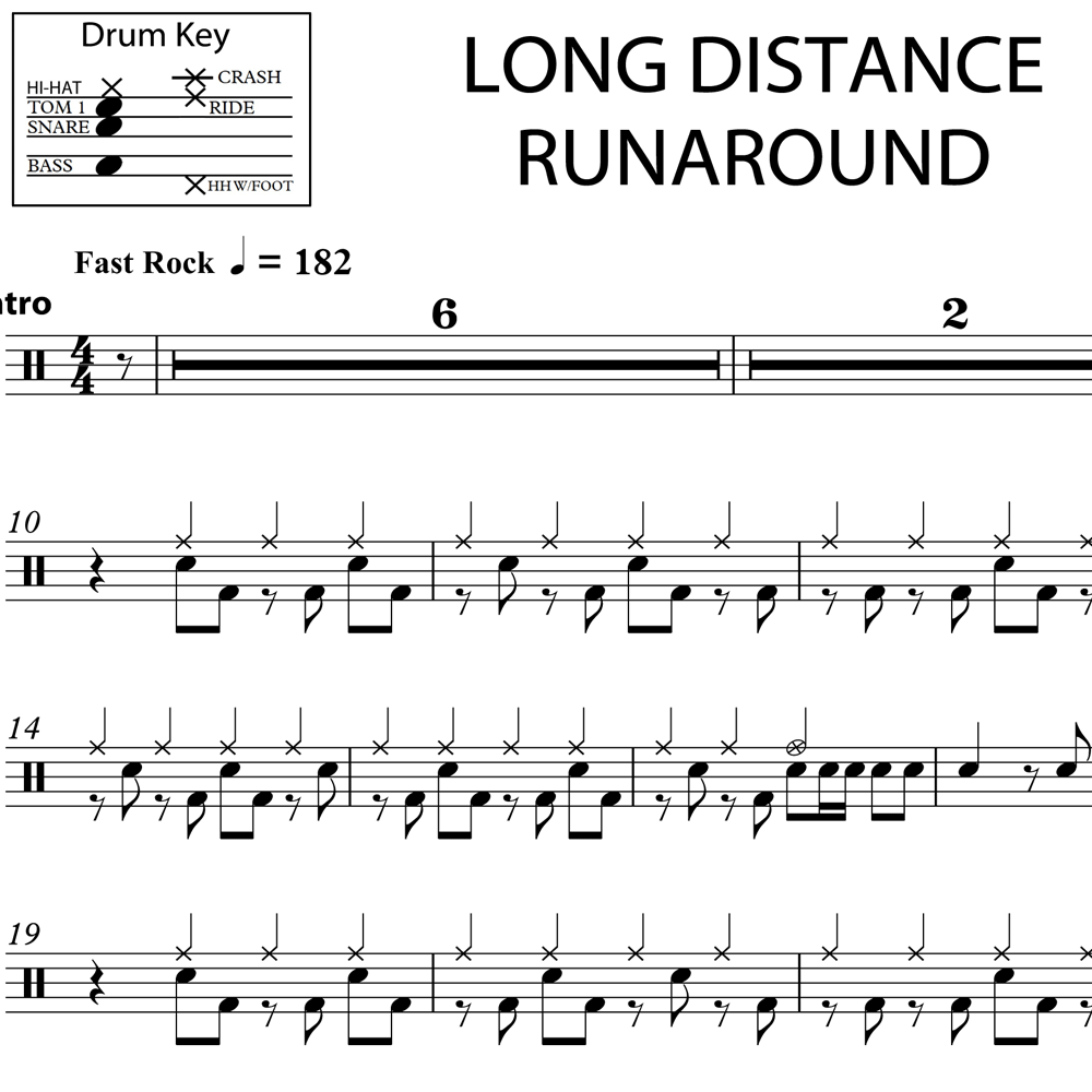 Long Distance Runaround - Intro & Verse - Drum Lesson