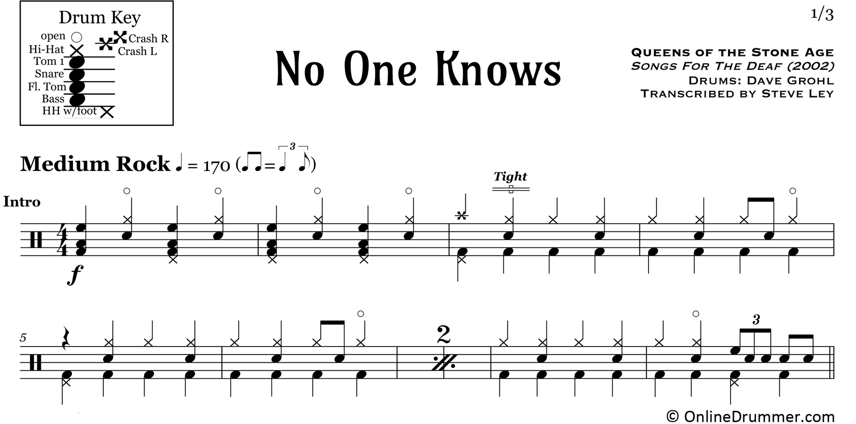 No One Knows - Queens of the Stone Age - Drum Sheet Music
