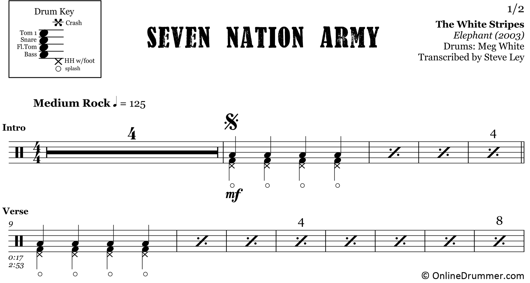Seven Nation Army - White Stripes - Drum Sheet Music