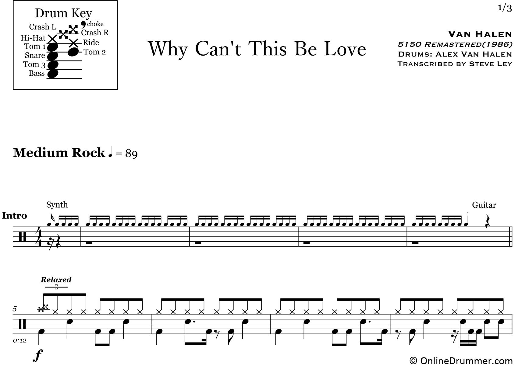 Why Can't This Be Love - Van Halen - Drum Sheet Music