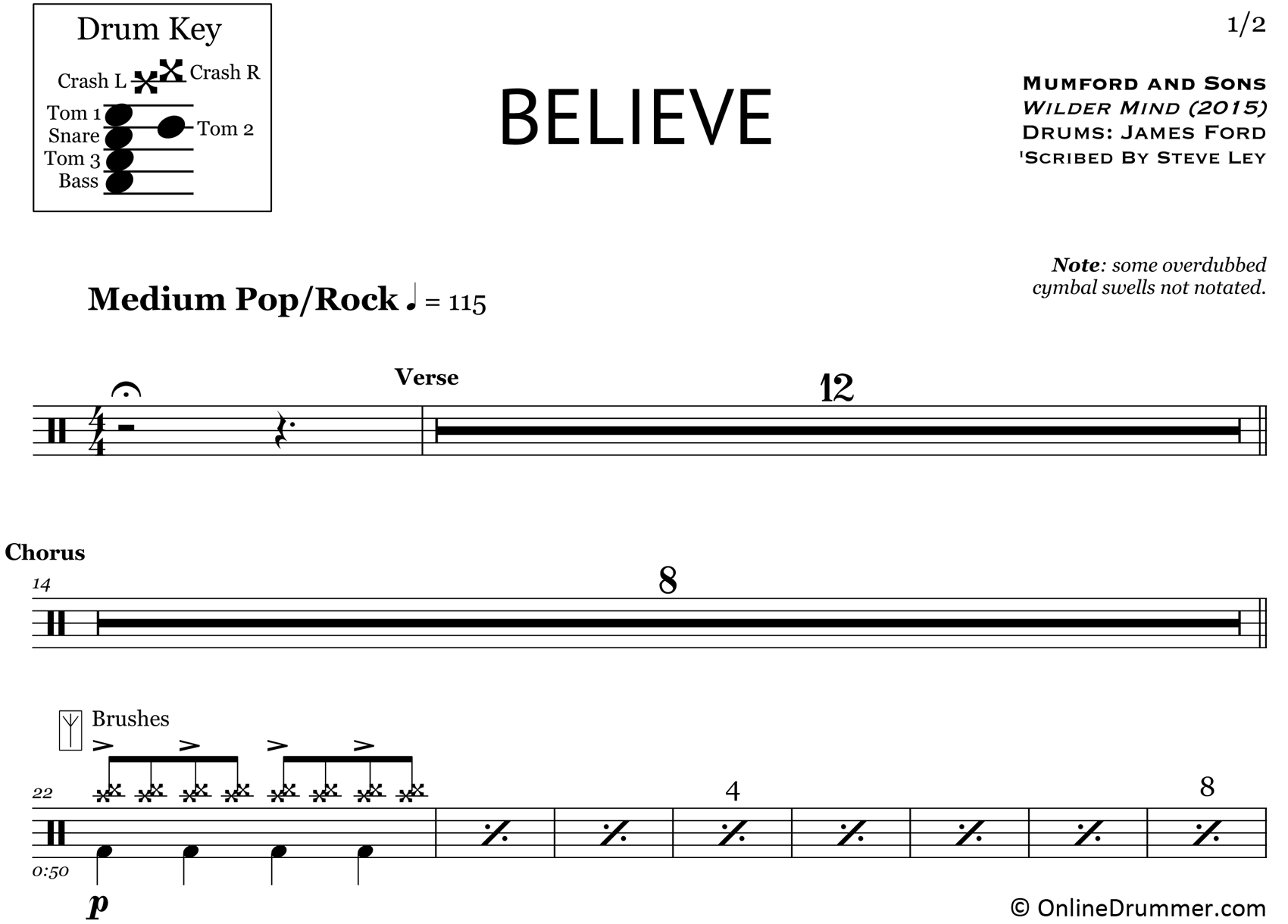 Believe - Mumford & Sons - Drum Sheet Music