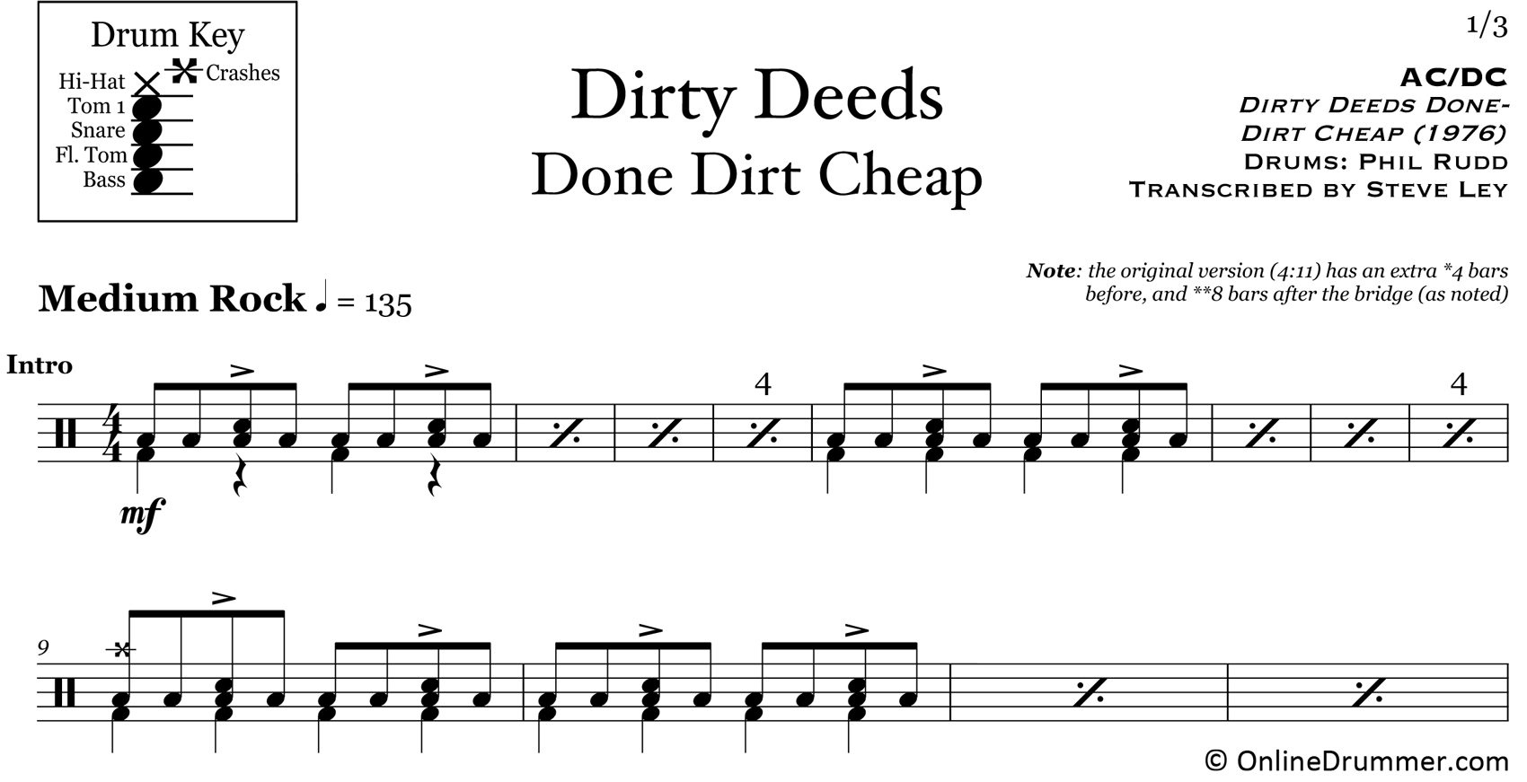 Dirty Deeds Done Dirt Cheap - ACDC - Drum Sheet Music