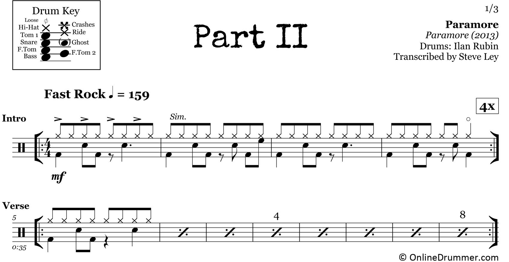 Part II - Paramore - Drum Sheet Music