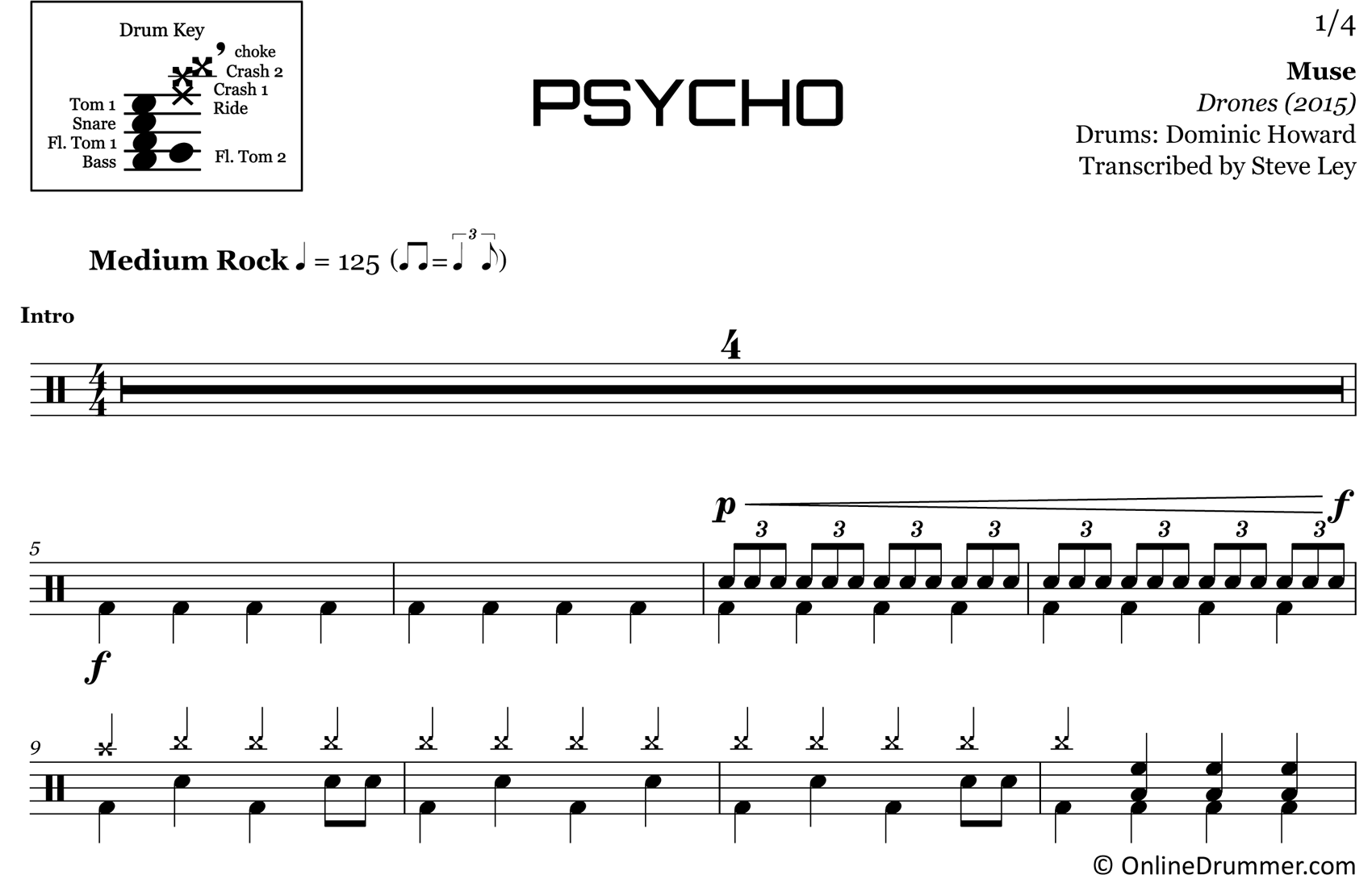 Psycho - Muse - Drum Sheet Music