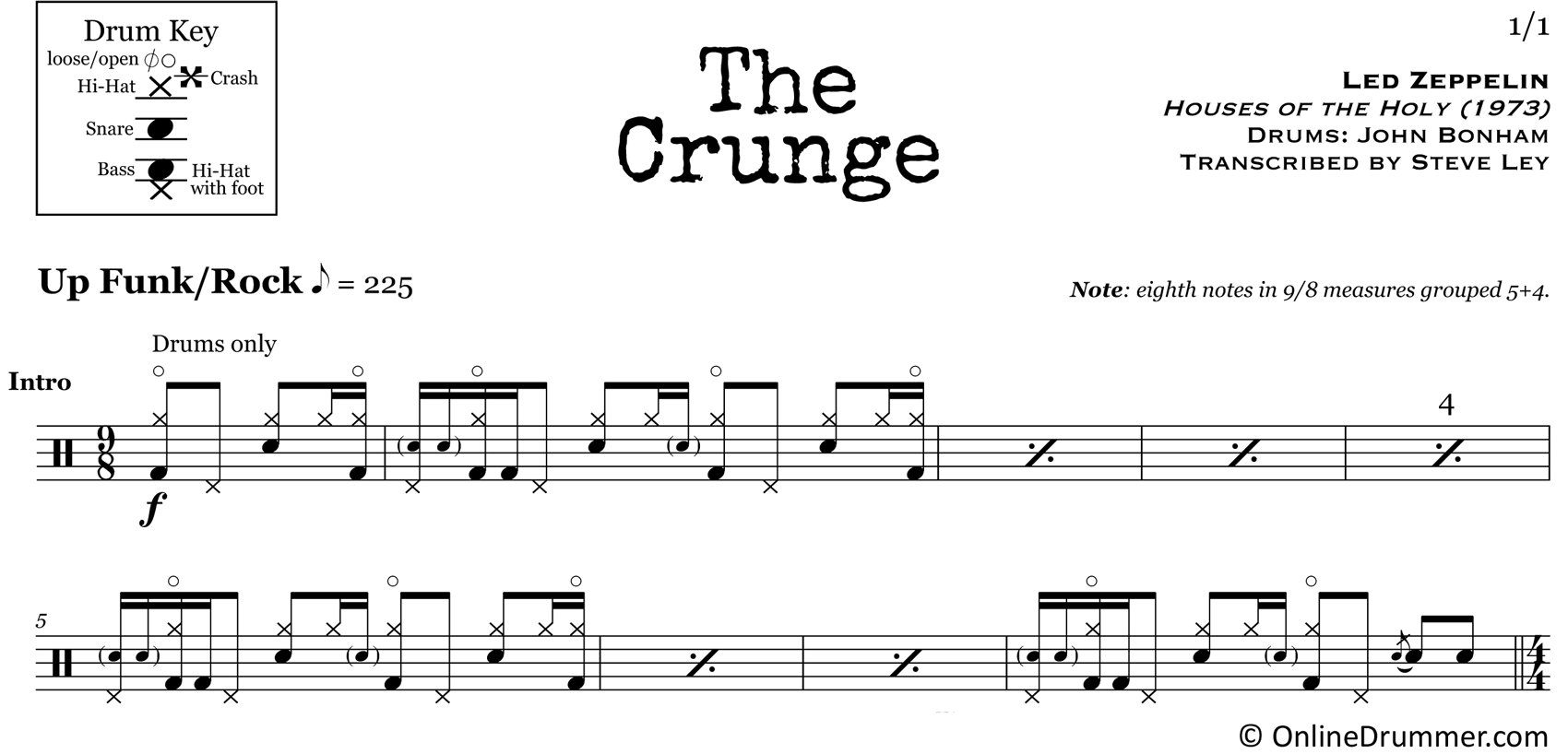 The Crunge - Led Zeppelin - Drum Sheet Music