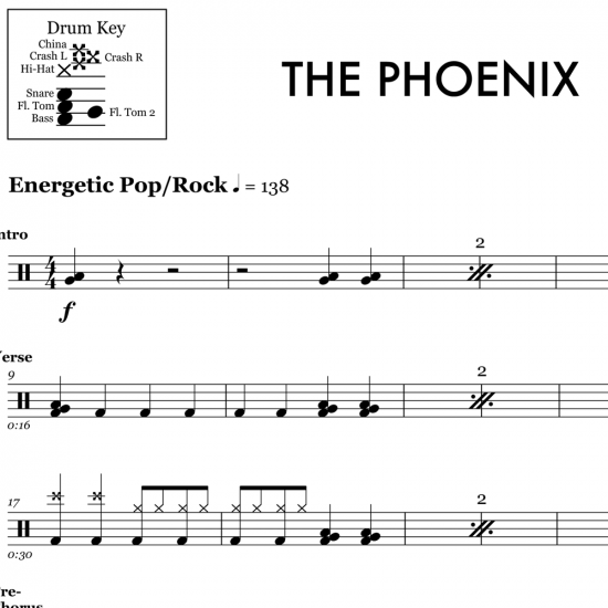 The Phoenix - Fall Out Boy - Drum Sheet Music