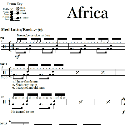 Africa By Toto Sheet Music Ibovnathandedecker