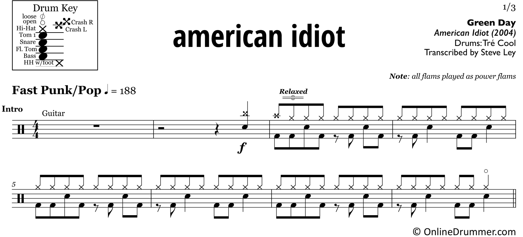 American Idiot - Green Day - Drum Sheet Music