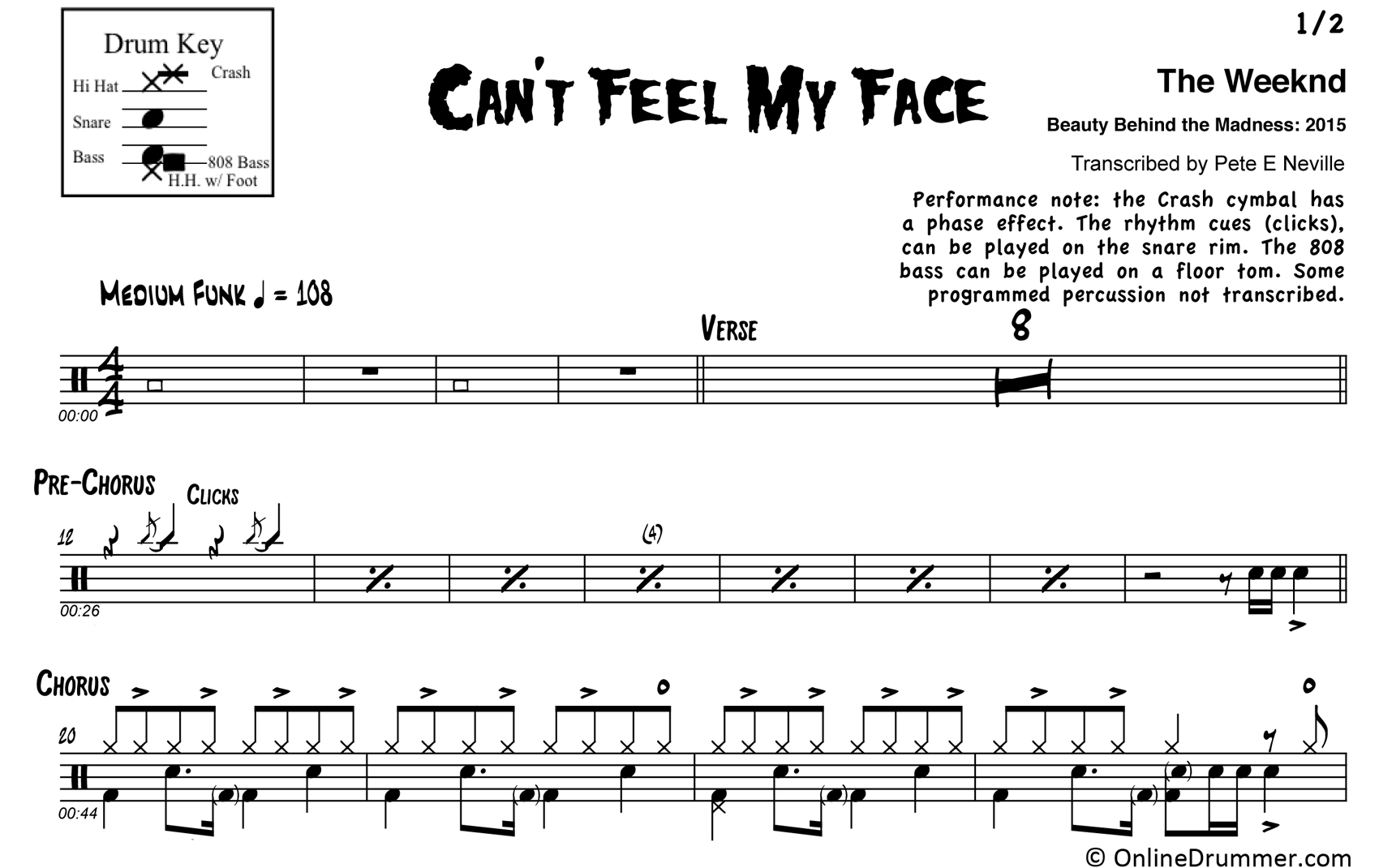 Can't Feel My Face - The Weeknd - Drum Sheet Music