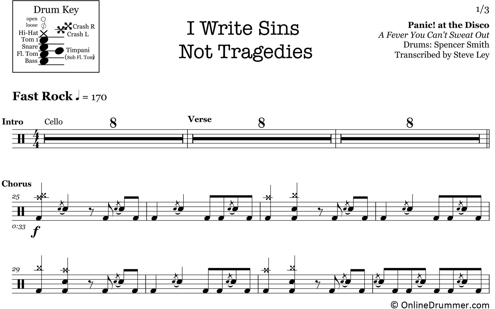 I Write Sins Not Tragedies - Panic! at the Disco - Drum Sheet Music