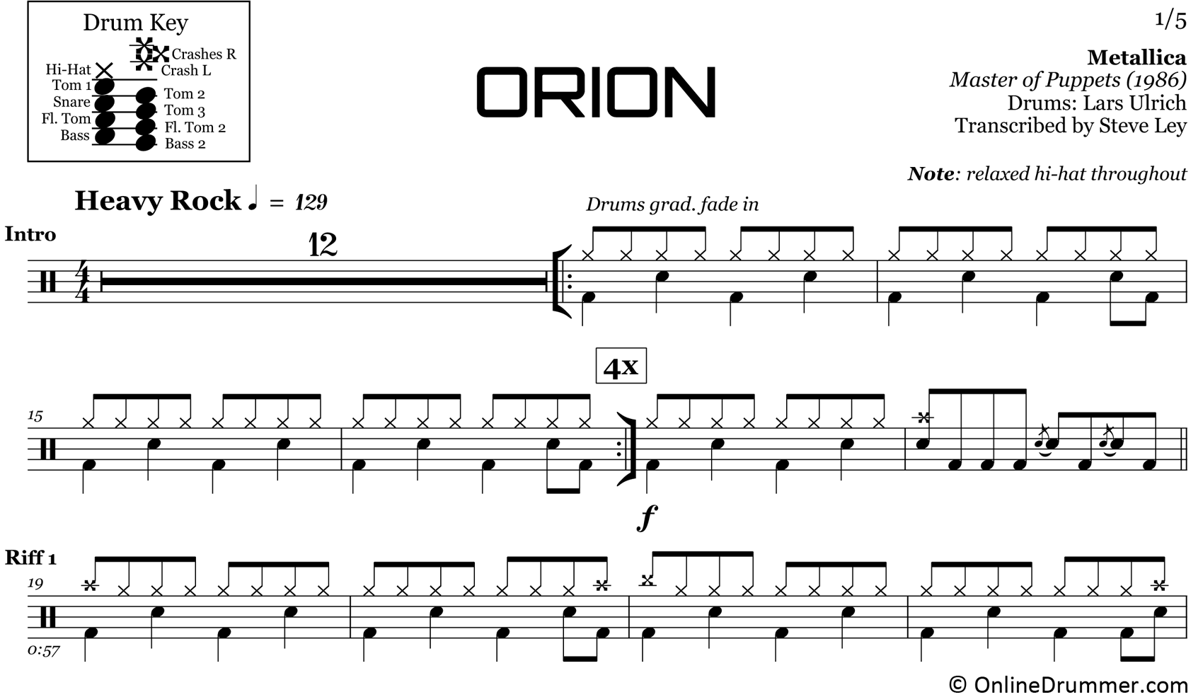 Orion - Metallica - Drum Sheet Music