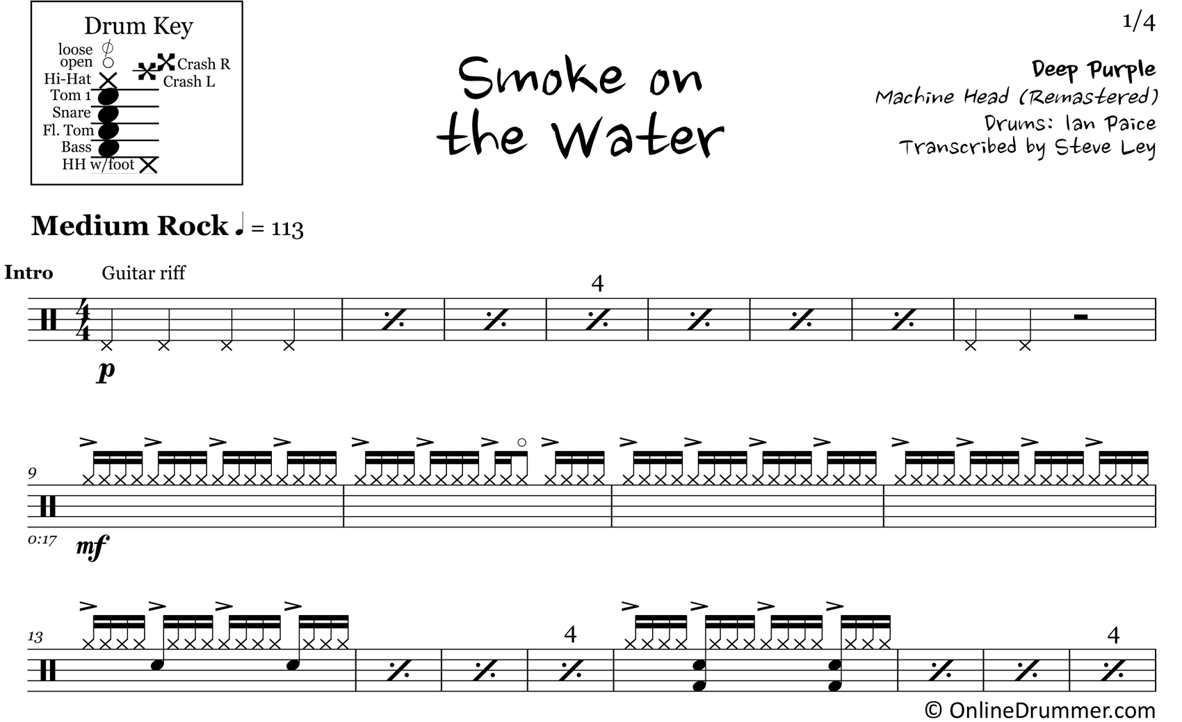 Smoke on the Water - Deep Purple - Drum Sheet Music