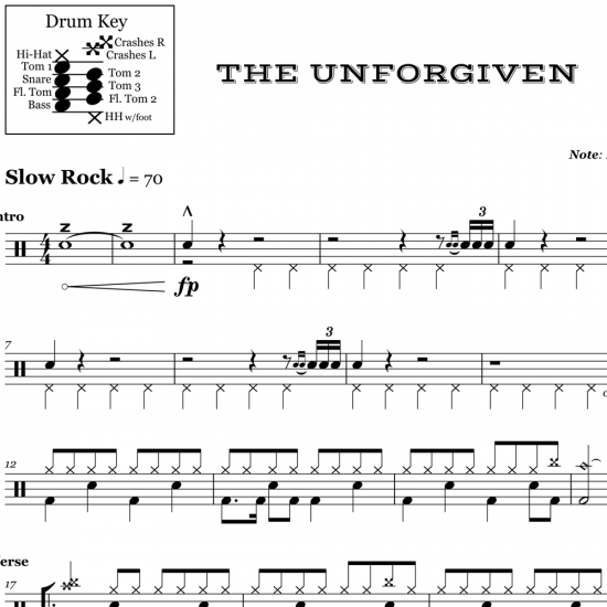 The Unforgiven - Metallica - Drum Sheet Music