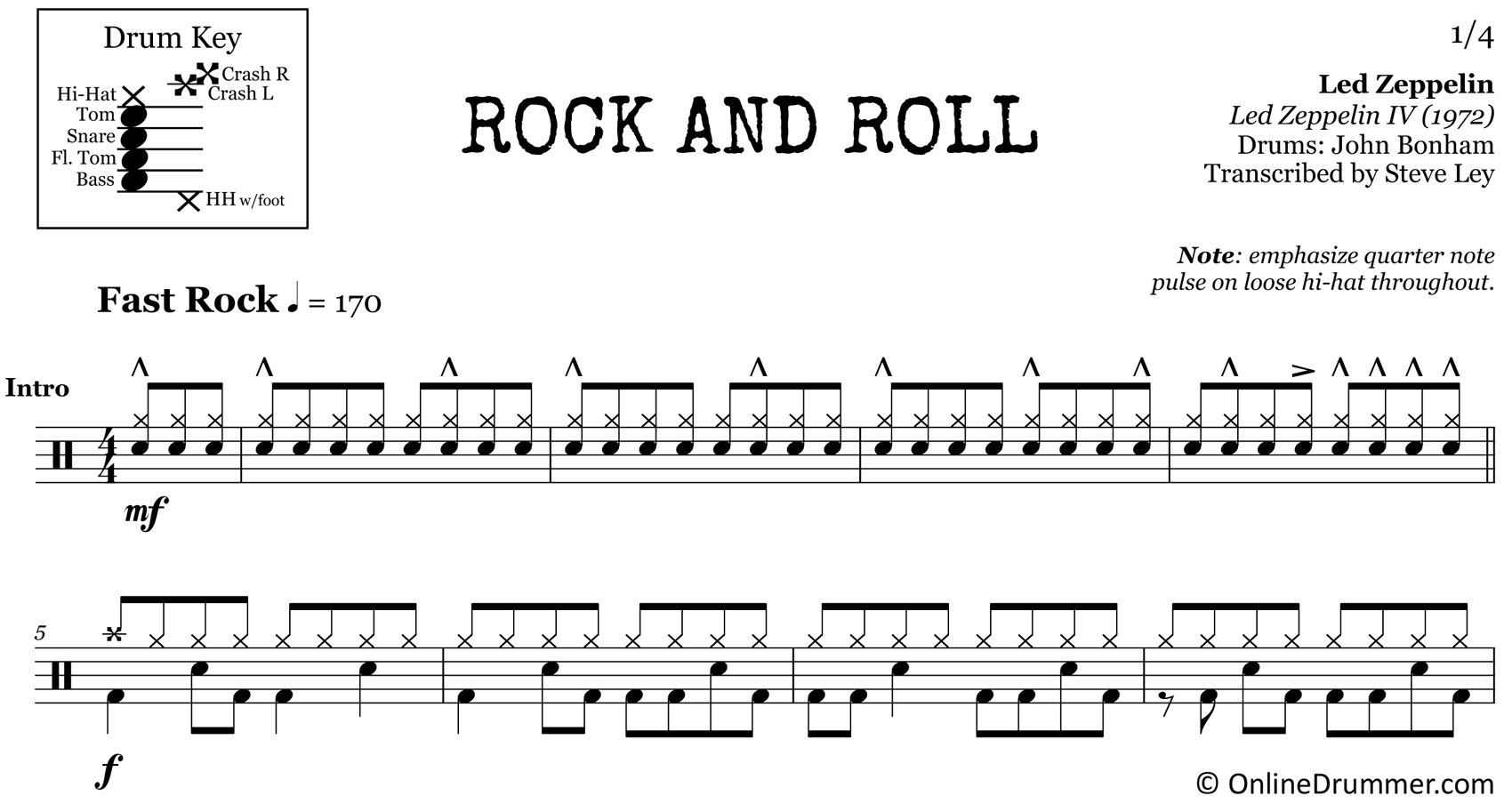 Rock and Roll - Led Zeppelin - Drum Sheet Music